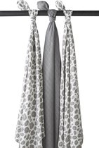 Afbeelding van Meyco 3-pack Swaddle - Panter neutral-Uni grijs-Panter neutral