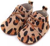 Leren Babyschoenen met Veters en leuke girafprint 0-6 maanden