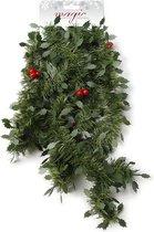 Groene kunst kerst guirlande met rode versiering 270 cm - Dennenslingers kerstversieringen/kerstdecoraties