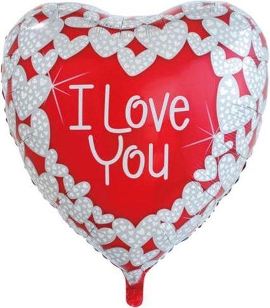Folie ballon hart vorm rood/wit I love you 92 cm groot