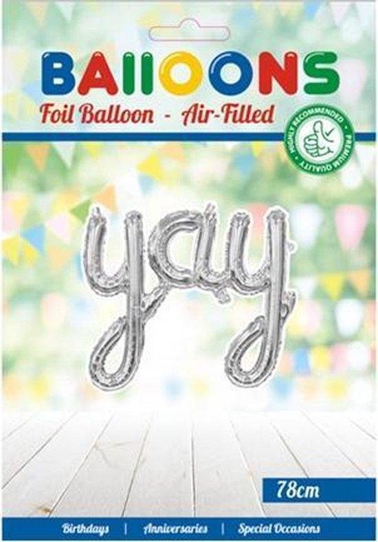 Folie ballon woord IJAIJ 78 cm groot in de kleur zilver