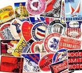 Vintage hotel stickers - 55 stuks - Oude hotel logo's  sticker pack