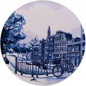 Delfts Blauw Amsterdam Modern - Heinen Delfts Blauw - Delfts blauw bord - sierbord - porselein wandbord - Delftsblauw wandbord