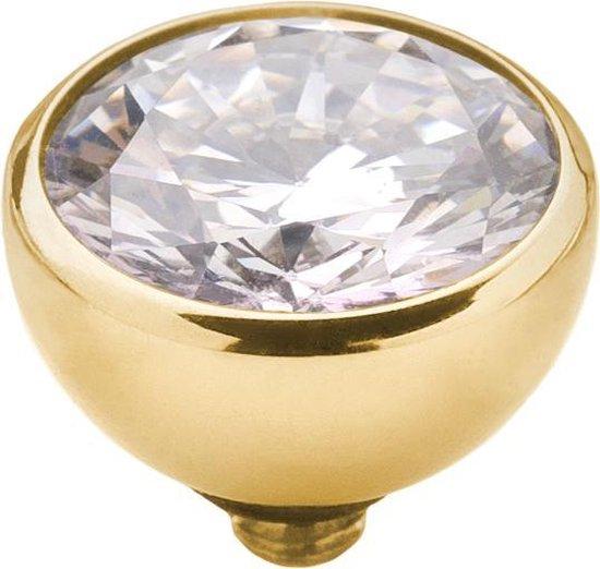 Melano twisted steen rond - goudkleurig + crystal - dames - 8mm