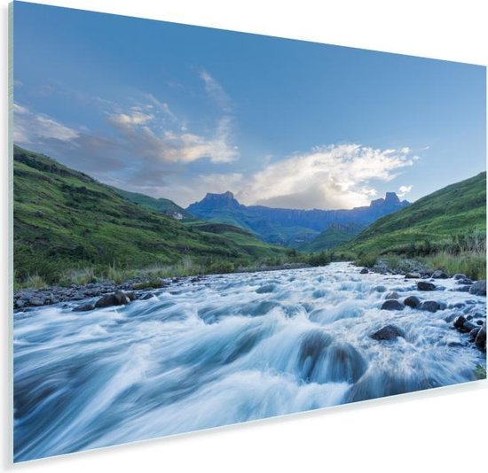 Het Amfitheater Drakensbergen en de De Tugela-rivier in Zuid-Afrika Plexiglas 120x80 cm - Foto print op Glas (Plexiglas wanddecoratie)