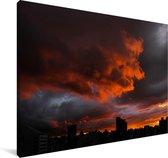 Zonsondergang over Belo Horizonte in Brazilië Canvas 180x120 cm - Foto print op Canvas schilderij (Wanddecoratie woonkamer / slaapkamer) XXL / Groot formaat!