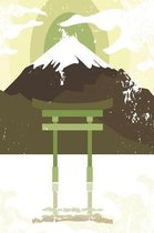 Japanese shrine with mountain in light green