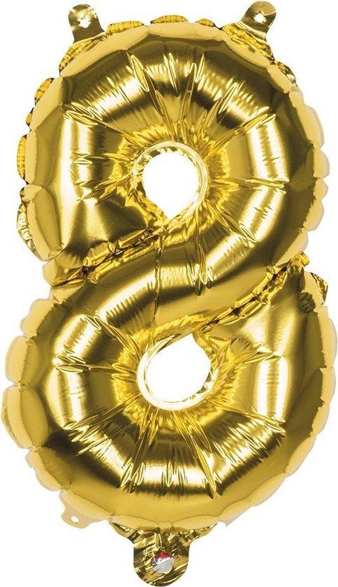 Boland Folieballon Cijfer 8 Goud 36 Cm