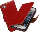 MP Case Rood vintage lederlook bookcase voor de Apple iPhone 5 5S SE wallet hoesje flip cover Apple iPhone 5 5S SE telefoonhoesje - smartphone hoesje - beschermhoes