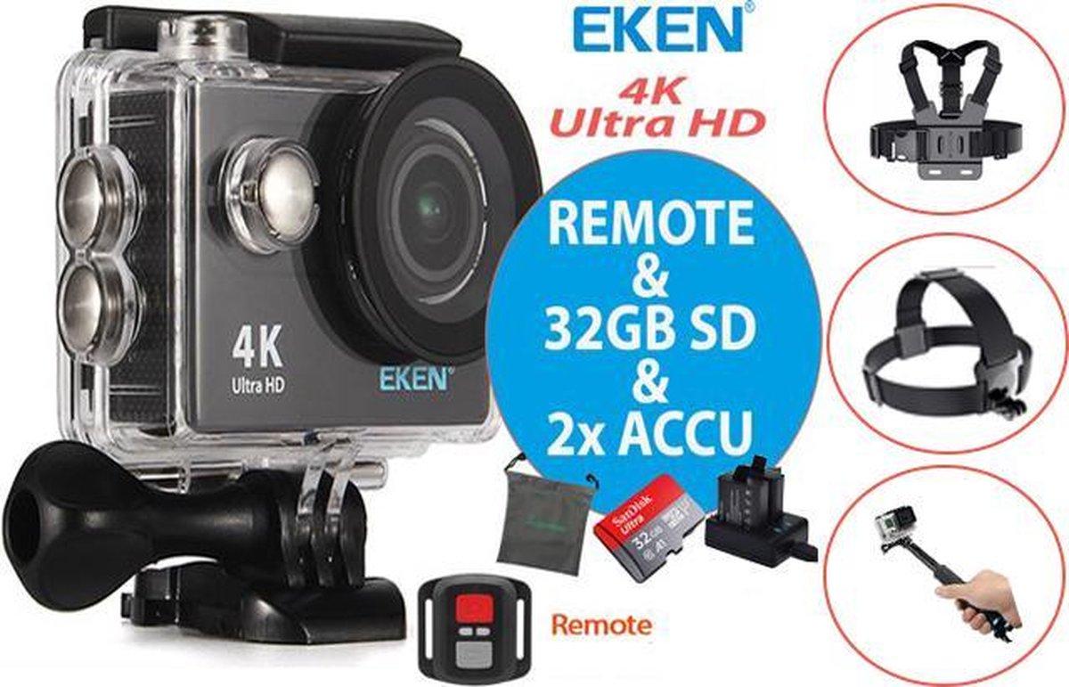 EKEN H9R + Sandisk 32GB SD + Extra Accu + Borstband + Hoofdband + Selfie Stick + Dual accu lader + 2