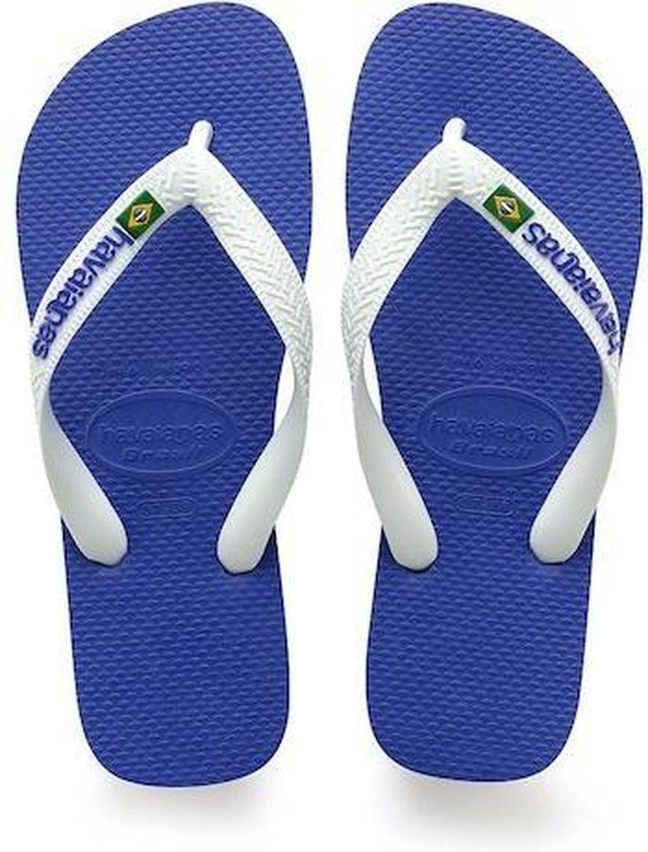 Havaianas Brasil Logo Unisex Slippers - Marine Blue - Maat 41/42