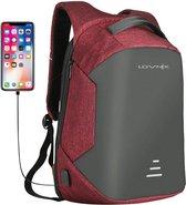 Lovnix - Anti Diefstal Rugzak - Inclusief Usb Oplaadstation en 3.5mm Audio Jack - 15 inch laptopvak - Rood