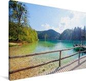 Landschap van het Nationaal park Plitvicemeren Canvas 140x90 cm - Foto print op Canvas schilderij (Wanddecoratie woonkamer / slaapkamer)