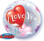 Qualatex - Folieballon - Bubbles - I love you - Zonder vulling - 56cm
