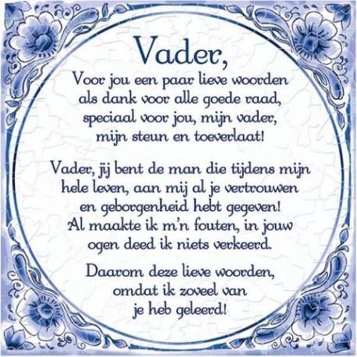 Ongebruikt bol.com   Delfts Blauwe Spreukentegel - Vader gedicht Delfs blauwe IY-99