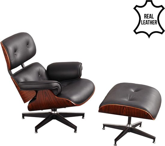 Lounge Stoel Hocker.Bol Com Ivol Lounge Chair Met Ottoman Hocker Set Zwart Leder