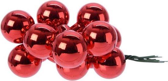 10x Mini glazen kerstballen kerststekers/instekertjes rood 2 cm - Rode kerststukjes kerstversieringen glas