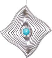 BlinQ Art Windspinner Vlag RVS - 185x185mm - Glaskogel 35mm turkoois