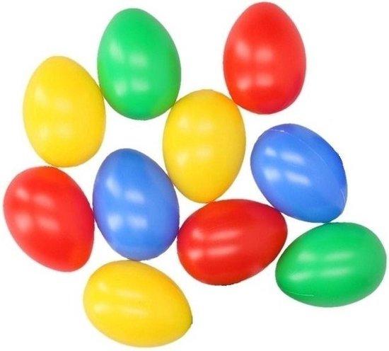 Gekleurde plastic eieren 10 stuks - Paasdecoratie / Paasversiering