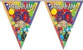 Leeftijd versiering vlaggenlijn / vlaggetjes / slinger Abraham 50 jaar geworden thema 10 meter - Multi