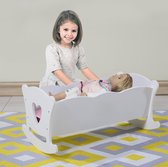 White wooden doll bed 50cm long