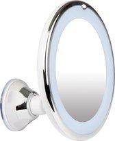 LifeGoods Make-Up en Scheer Spiegel met Ringverlichting - 360° Verstelbare Wandbevestiging - Wit