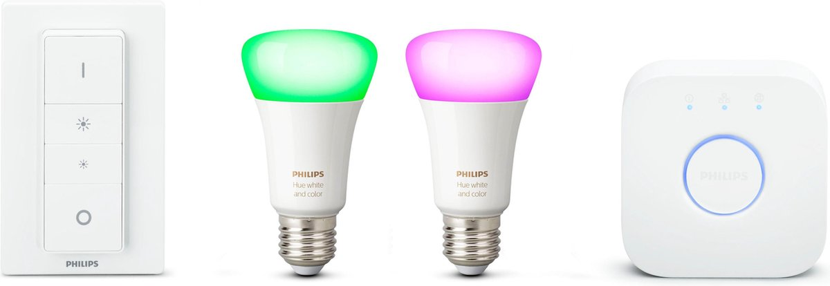 Philips Hue - 2xE27 + Bridge & Dimmer - Starter Kit - White and Color Ambiance