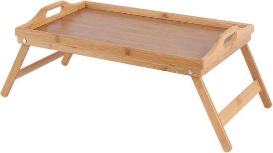 QUVIO Bedtafeltje dienblad bamboe - Uitklapbare pootjes - Ideaal voor ontbijt op bed - Bruin - Ontbijt dienblad - Houten bed tafel - Beddienblad