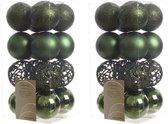32x Donkergroene kunststof kerstballen 6 cm - Mix - Onbreekbare plastic kerstballen - Kerstboomversiering donkergroen