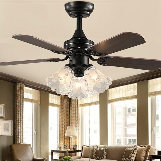 Vintage plafondventilator verlichting slaapkamer plafond licht ventilator met afstandsbediening AC 220V