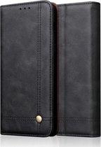Let op type!! Casual stijl retro Crazy Horse textuur horizontale Flip lederen draagtas met kaartsleuven & houder & portemonnee voor Galaxy Note 10 + (zwart)