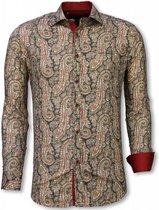 Tony Backer Italiaanse Overhemden - Slim Fit Overhemd - Blouse Cashemira Paisley Pattern - Groen Casual overhemden heren Heren Overhemd Maat L