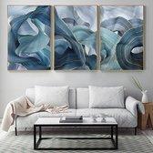 3-Delige SET Canvas Schilderij * Goud Blauw Lint * - Kunst aan je Muur - Modern Abstract - kleur - SET 3x 50 x75 cm