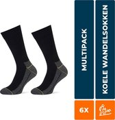 6-Pack Koele Naadloze Wandelsokken STAPP YELLOW - Walker 4425.699 - Zwart - Unisex