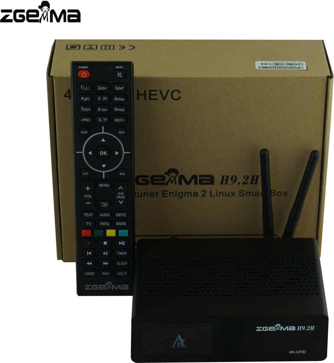 Zgemma H9.2H 4K UHD Decoder met S2X + T2 / C + IPTV Tuners / WiFi ingebouwd