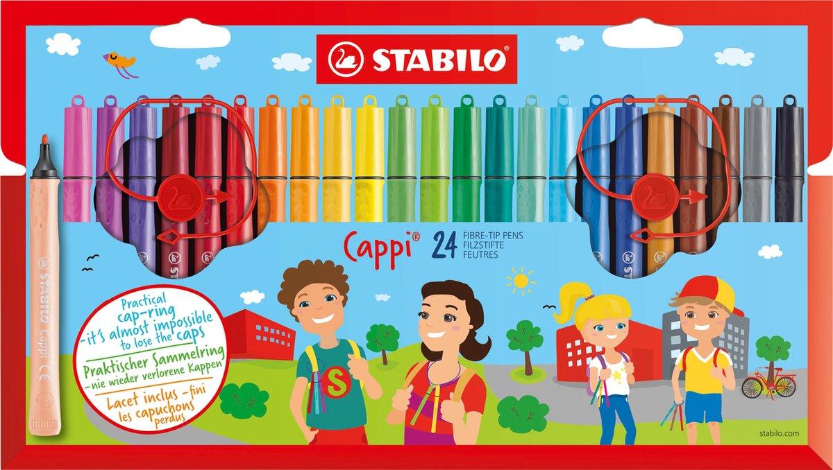 STABILO Cappi - Viltstift - Nooit Meer Je Dop Kwijt Dankzij De Dopring - Etui Met 24 Kleuren + 2 Dop