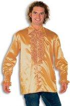 Rouche overhemd voor heren goud 2xl