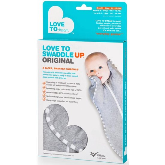 Love to dream - Swaddle UP inbakerslaapzak stage 1 small grijs