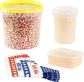 Afbeelding van Popcornmais zoet en zout startpakket. Inhoud: 1,4 KG mais, popcorn suiker, popcorn zout en puntzakjes