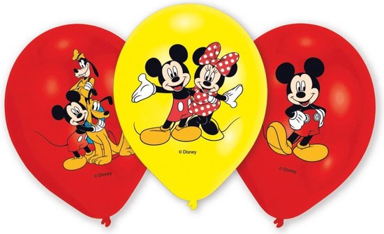 6 Latex Balloons Micky 4 Colour Print 27.5 cm/11