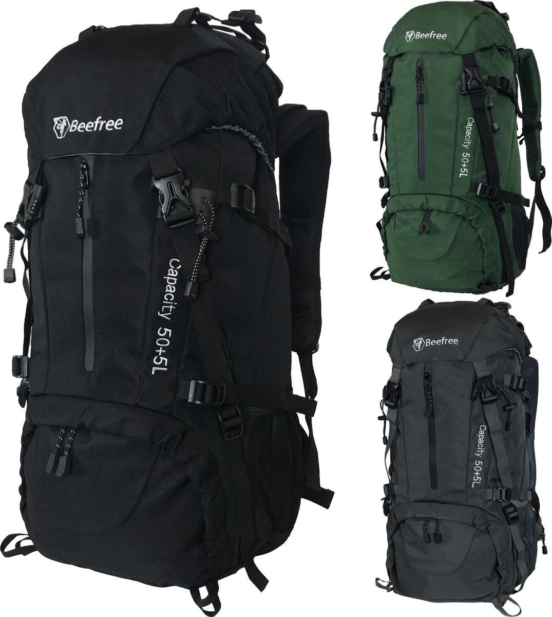Beefree Backpack - Rugzak - Inclusief regenhoes - 55 Liter -  Zwart
