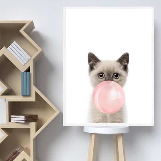 Postercity - Design Canvas Poster Poesje/Kitten met Roze Kauwgom / Kinderkamer / Muurdecoratie / 40 x 30cm / A3