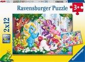Ravensburger puzzel Lieve eenhoorn - 2x12 stukjes - kinderpuzzel
