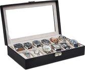 Lowander horlogebox / horlogedoos - 12 horloges - zwart