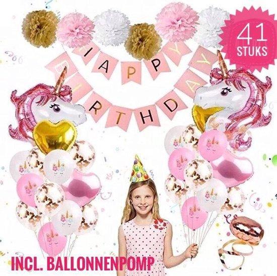 PlayKvani -  41 delig - Unicorn - Eenhoorn verjaardag versiering - feestdecoratie - party pakket - inclusief ballonpomp