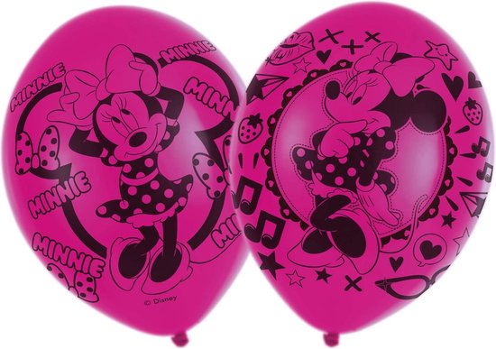 AMSCAN - 6 roze latex Minnie Mouse ballonnen - Decoratie > Ballonnen