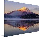 Fuji berg vanuit het meer Yamanaka in het Aziatische Japan Canvas 90x60 cm - Foto print op Canvas schilderij (Wanddecoratie woonkamer / slaapkamer)