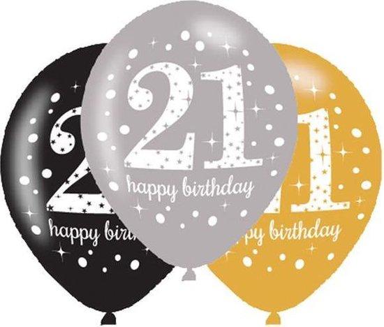6 Latex Balloons Age 21 Sparkling Birthday 27.5cm/11