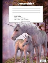 Magical Starlight Unicorn Composition Book Wide Rule Writing Paper Notebook