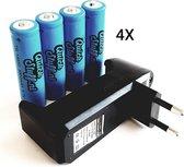 4x Quickstuff 18650 batterijen plus oplader COMBIPACK